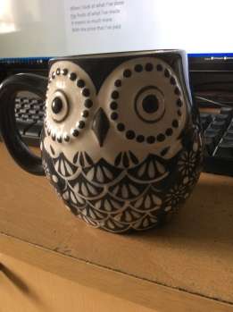 Oversized owl mug - a cuppa during songwriting session with Matt Steady