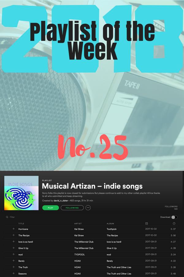 Playlist of the Week 2018, no 25: Musical Artizan's Indie Songs.
