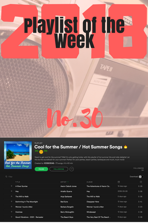 Playlist of the week no 30 2018 - Cool for the Summer / Hot Summer Songs by Susan Moss
